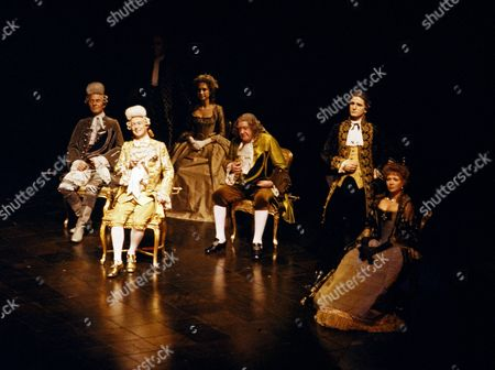 Stock Image of The Emperor listens to a composition by Wolfgang Amadeus Mozart. Cast including Felicity Kendal as Constanze Mozart, and Andrew Cruickshank (centre).
