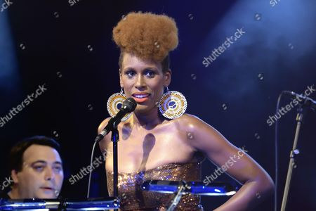 Stock Image of Franco-Cameroonian singer Sandra Nkake sings Ray Charles at the Cabaret Sauvage in a creation by pianist Eric Legnini (with singers Alice Russel and Elena Pinderhughues)