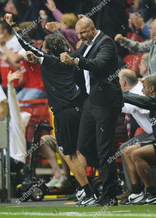 Stock Picture of Charlton Athletic Manager Bob Peeters celebrates the first half goal scored by Andre Bikey, 1-0
