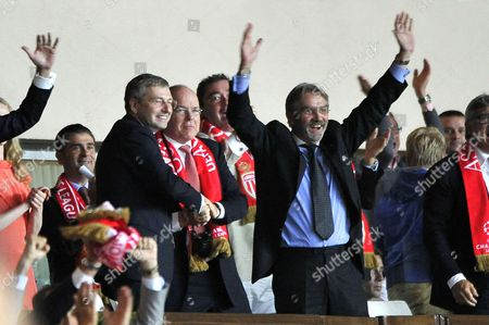 (L-R) AS Monaco's President Dmitri Rybolovlev, Prince Albert II of Monaco and President of the French Soccer League (LFP) Frederic Thiriez