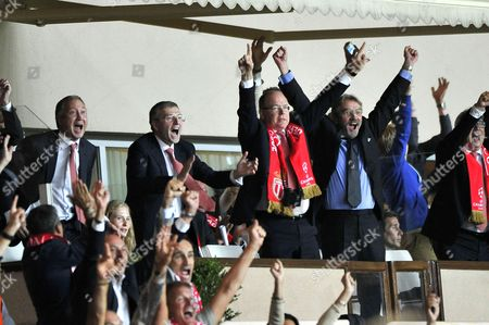 (L-R) AS Monaco's Vice-President Vadim Vasilyev, AS Monaco's President Dmitri Rybolovlev, Prince Albert II of Monaco and President of the French Soccer League (LFP) Frederic Thiriez