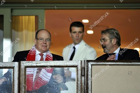 Prince Albert II of Monaco (L) and President of the French Soccer League (LFP) Frederic Thiriez