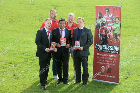 (L-R) Wales assistant coach Robert Howley, Wales international Jamie Roberts, WRU National Medical Performance manager Prav Mathema, Paul Watkin of Bryncethin RFC and WRU Head of Rugby Josh Lewsey following the announcement of the Welsh Rugby Union new concussion protocol.