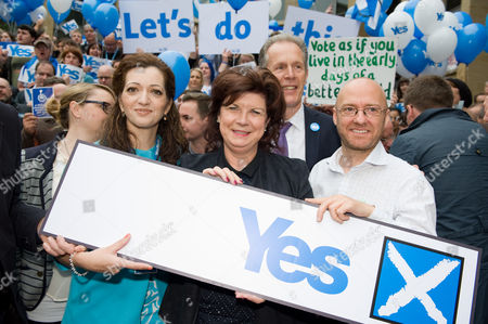Blair Jenkins, Elaine C Smith, Martin Compston, Ricky Ross, Dennis Canavan, Patrick Harvie, Lorraine McIntosh attends a Scottish Pro-Independence YES rally in George Square, Glasgow