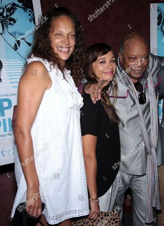 Stock Photo of Jolie Jones Levine, Rashida Jones and Quincy Jones