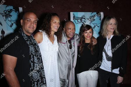 Stock Image of Quincy Jones III, Jolie Jones Levine, Quincy Jones, Rashida Jones and Peggy Lipton