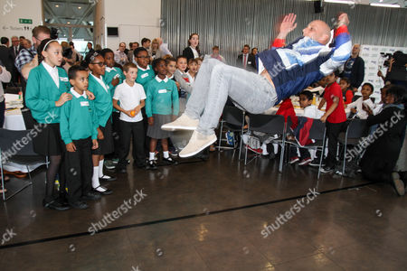 Stock Picture of Peter Waterfield performs a backflip