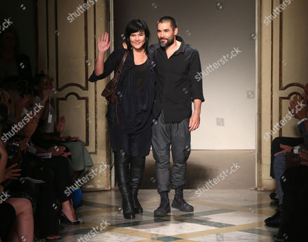 Designers Nicholas Kunz and Christopher Kunz on the catwalk