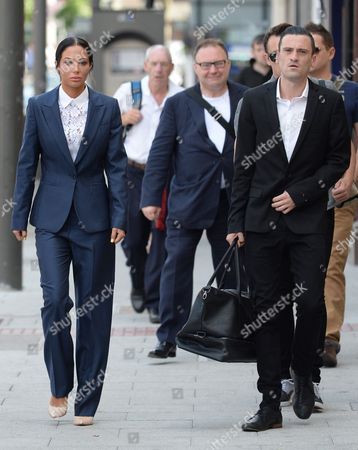 Her assistant, Gareth Varey, (right) was cleared of using threatening behaviour during the incident last AugustTulisa Contostavlos arrives at Stratford Magistrates' Court to conclude her assault trial