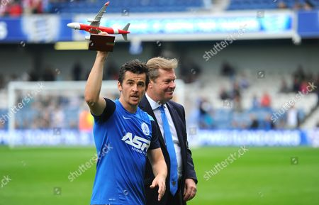 Joey Barton of QPR wins the Air Asia player of the month and is presented with his award by Chief Executive Philip Beard