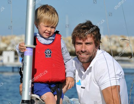 Iain Percy with Andrew's son Freddie