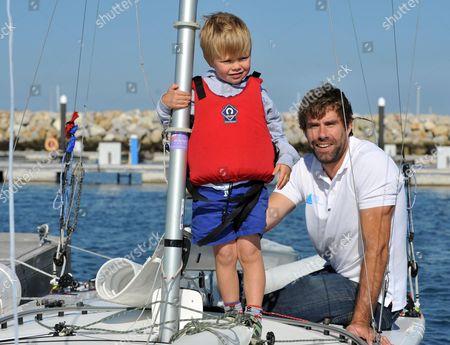 Stock Image of Iain Percy with Andrew's son Freddie
