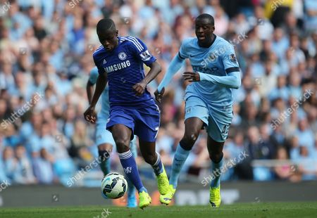 Chelsea Midfield Player Ramires and Manchester City's Yaya Toure