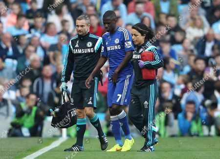 Ramires of Chelsea leaves the game through injury