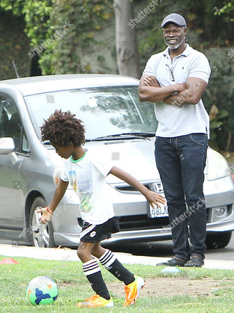 Editorial picture of Djimon Hounsou watches his son Kenzo Lee Hounsou play soccer at the Coldwater Canyon Park in Beverly Hills, California, America - 20 Sep 2014