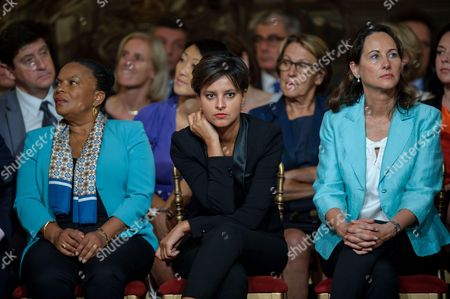 French Justice minister Christine Taubira, French Education Minister Najat Vallaud-Belkacem and French Minister for Ecology, Sustainable Development and Energy, Segolene Royal.