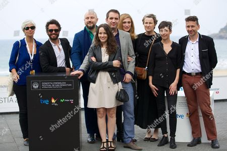 The actress Maria Siebald, Ingrid Isensee and the director Cristian Jimenez with Julie Gayet