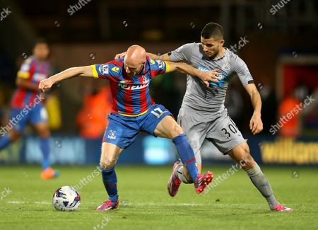 Andy Johnson of Crystal Palace and Mehdi Abeid of Newcastle United