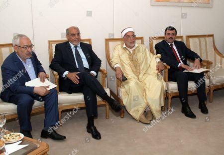 (LtoR) Tunisian Ennahdha Islamist Party founder Rached Ghannouchi, Tunisian former Prime minister Hamadi Jebali, Ennahdha's vice President Abdelfattah Mourou and Tunisian Ennahdha Islamist Party General secretary Ali Laarayedh
