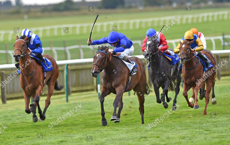 (C) Lucida (Kevin Manning) wins The Shadwell Rockfel Stakes from (L) Fadhayyil (Paul Hanagan) @ Newmarket Racecourse. Pic: Hugh Routledge. 26.9.14
