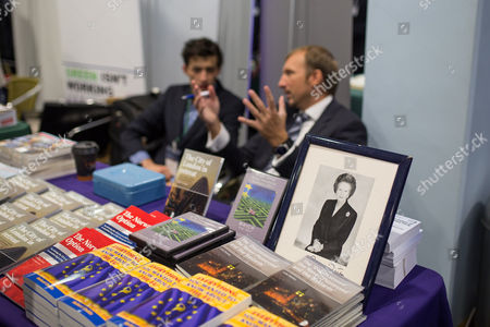Portrait of Baroness Margaret Thatcher on a book stall