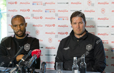 Cardiff City interim coaches Danny Gabbidon, left, and Scott Young face the media ahead of Saturday's Championship match against Sheffield Wednesday