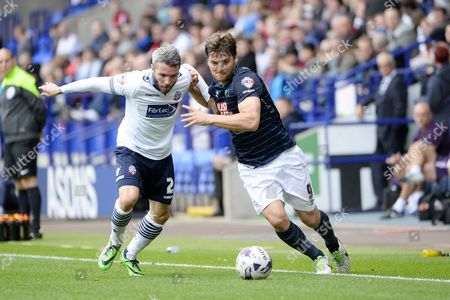 Stock Picture of Derby's Chris Martin holds off a challenge from Bolton's Kevin McNaughton