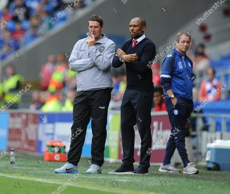 Cardiff City Caretaker Manager Scott Young and Cardiff City Caretaker Manager Danny Gabbidon