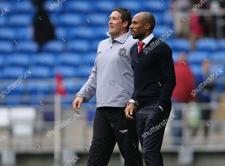Cardiff City caretaker managers Scott Young and Danny Gabbidon at the end of the match
