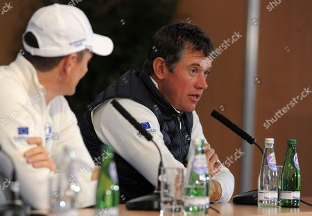 Stock Photo of Lee Westwood of Team Europe talks about passing Severiano Ballesteros Ryder cup points record