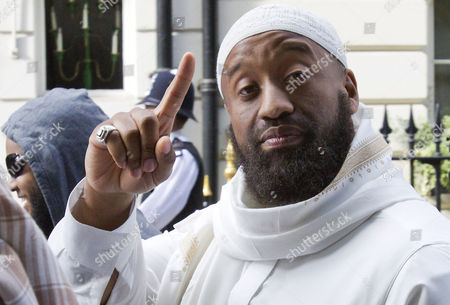 Stock Photo of Abu Izzadeen, born Trevor Brooks on a 'Muslims Against Crusades' protest to disrupt a one minute silence outside the US embassy on the tenth anniversary of the 9/11 attacks