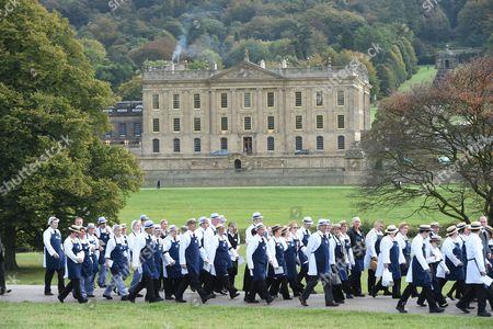 Staff from Chatsworth House followed the Deborah Cavendish Duchess of Devonshire Funeral cortege