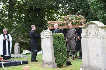 Stock Photo of Wicker coffin of The Deborah Cavendish Duchess of Devonshire