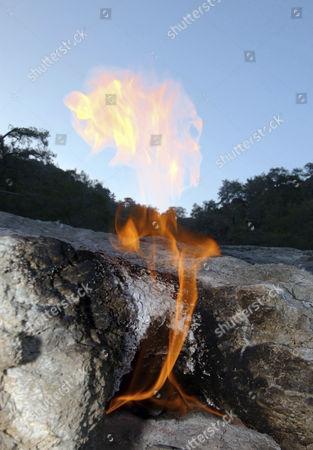 Burning gas vents, Chimeras, Olimpos, Turkey