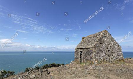 Cabane Vaubane, historical guardhouse, at Baie du Mont Saint-Michel, Carolles, Cotentin Peninsula, Manche department, Lower Normandy, France