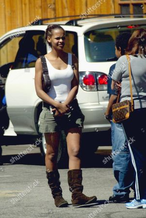Editorial image of SAMANTHA MUMBA OUTSIDE 'THE SADDLE RANCH BAR', SUNSET BOULEVARD, HOLLYWOOD, AMERICA - 29 APR 2003