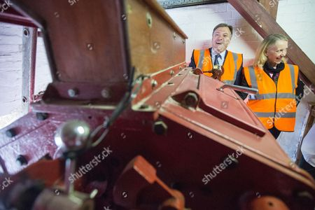 Ed Balls and Liz McInnes on a tour of the JW Lees Brewery factory