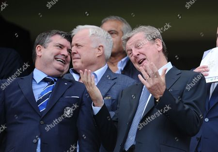 Stock Image of England manager Roy Hodgson, alongside Chelsea Chief Executive Ron Gourlay, does a passable impression of Robert De Niro before kick off
