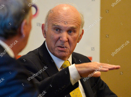 Secretary Of State For Business Innovation And Skills Vince Cable MP In Conversation With Steve Richards At An Independent Newspaper Fringe Meeting. Lib Dem Party Conference At The Scottish Exhibition And Conference Centre In Glasgow Scotland.  16.9.13.