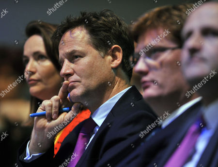(l To R) Kirsty Williams Nick Clegg Danny Alexander And Steve Webb. Liberal Democrat Leader Nick Clegg Speaks During A Debate On The UK Economy. Lib Dem Party Conference At The Scottish Exhibition And Conference Centre In Glasgow Scotland.  15.9.13.