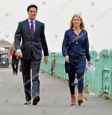 Lab Leader Ed Miliband Arrives For The BBC Andrew Marr Show On Brighton Seafront With Advisor Rachel Kinnock (r). Labour Party Annual Conference At The Brighton Centre East Sussex.  22.9.13.