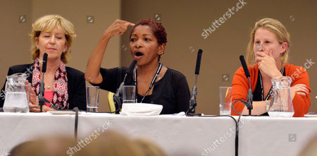 (l To R) Melissa Benn Author Bonnie Greer And Caroline Criado perez Speaks At The Labour Party International Womens Conference At The Hilton Hotel Brighton Labour Party Annual Conference At The Brighton Centre East Sussex. 21.9.13.