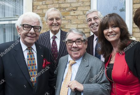 Barry Cryer Nicholas Parsons And Jeffrey Holland Ronnie Corbett And Vicki Michelle Attending The Unveiling Of A Blue Plaque For Former Comedian Danny La Rue At Brinsworth House In Twickenham. 22.9.13.