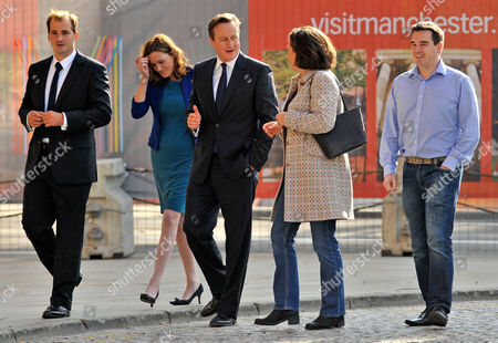 Editorial photo of Pic Bruce Adams / Copy Lobby - 29.9.13 (l To R) Jake Berry Mp Rebecca Harris Mp Prime Minister David Cameron Anne-marie Trevelyan Conservative Candidate For Berwick Upon Tweed James Davies Conservative Candidate For Vale Of Clwyd Arrive The Conservat