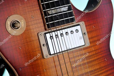 Detail Of The Burstbucker Pro Rhythm Humbucker On A Gibson Les Paul Standard 2014 Electric Guitar