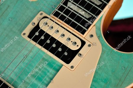 Detail Of The Zebra Oo57 Classic Humbucker On A Gibson Les Paul Classic Electric Guitar