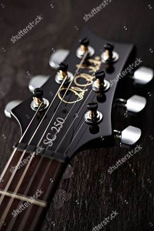 Stock Photo of Detail Of The Headstock On A Prs S2 Singlecut Electric Guitar