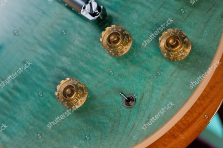 Detail Of The Control Knobs On A Gibson Les Paul Classic Electric Guitar