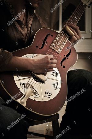 Detail Of A Guitarist Playing A National Reso-phonic M2 Mahogany Resonator Guitar Photographed For A Feature On Slide Guitar And Blues Music