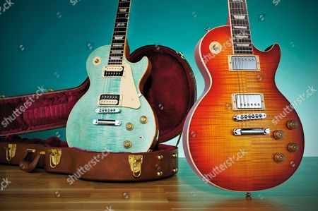 A Gibson Les Paul Classic (L) And A Gibson Les Paul Standard 2014